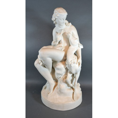11 - Charles Bell Birch 'Wood Nymph Fawn and Doe' A Parian Large Group, impressed mark CB Birch SC 1866 4...