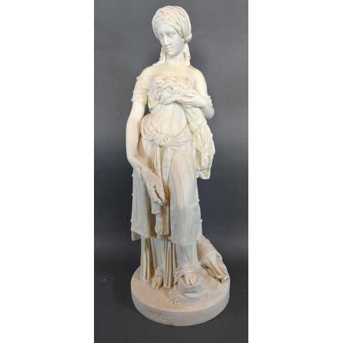 38 - A 19th Century Parian Figure in the form of Ruth, 49 cms tall