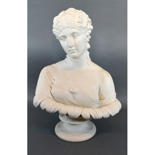 39 - A 19th Century Copland Parian Bust of Clytie modelled by C. Delpech and impressed 'The Art Union of ...