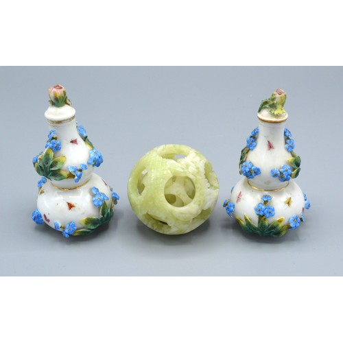 12 - A Pair of Berlin Porcelain Small Gourd Vases with Covers together with a 20th Century Chinese jade p...