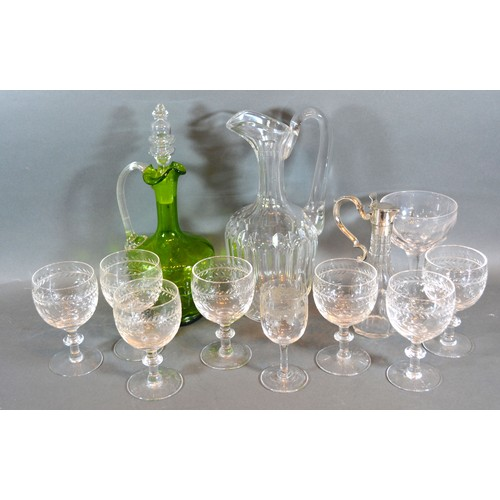 16 - A Cut Glass and Silver Plated Mounted Vinegar Bottle together with two ewers, a set of seven cut gla...