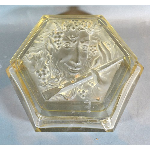 19 - A Large  Art Deco Cut Glass Dressing Table Box, the top decorated with a lady's head playing a flute...