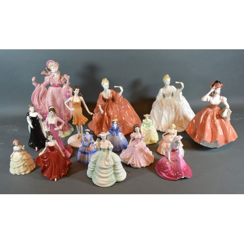 31 - A Coalport figurine Flora, together with fifteen other Coalport figurines