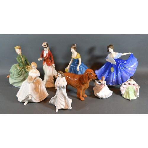 32 - A Royal Doulton figurine Sarah, HN number 3384, together with seven other Royal Doulton figurines an...