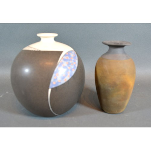 10 - A Studio Pottery Vase of Globular Form bearing initials M.N together with another similar studio pot...