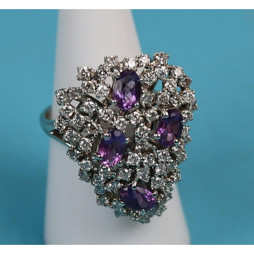 48 - 18ct white gold amethyst & diamond cocktail ring