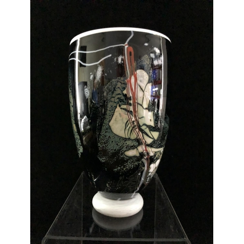 An Art Glass Vase Of Black Ground With Mica White And Red Abstract