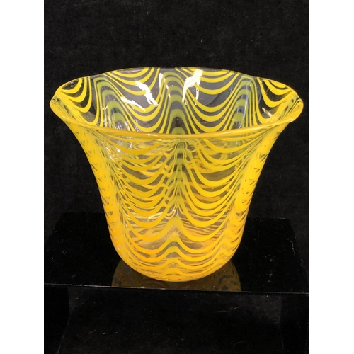 60 - Continental Glass - A Tango yellow pulled feather striped bucket vase, the rim everted, 16cm max dia...