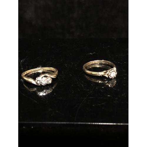 7 - Two diamond rings -An illusion set single stone diamond ring, of round brilliant cut, 2.8mm diam app...