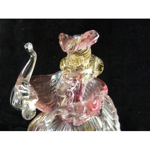 54 - Murano, Italy - A Venetian glass Goldoni Carnevale figure, formed as a lady in flattened crinoline s...