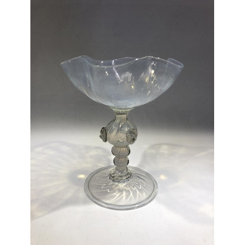 28 - Salviati - a blue opal chalice form sweetmeat stand, the poppy flower head form bowl on hollow knopp...