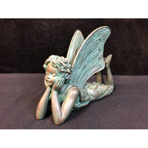 40 - Suffolk Fairys - Two bronzed resin figures - Dreamer and Butterfly; and two Jenny Oliver Faeries, Ho...