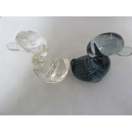 33 - Whitefriars - Two glass Dilly Ducks, in Flint and Arctic Blue, 14cm high approx (2)...