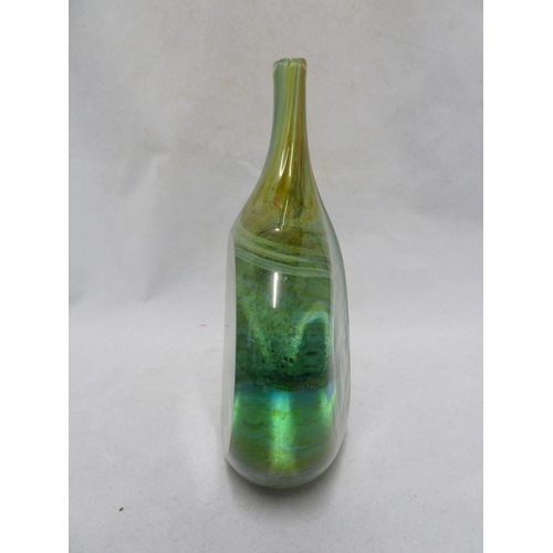 17 - Mdina -A glass Lolipop vase, of flattened bottle form the cased green body with polished panels over...