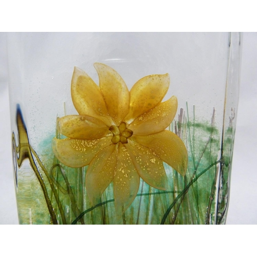 14 - Timothy Harris for Isle of Wight Glass- a solid glass block with internal design of a yellow flower,...