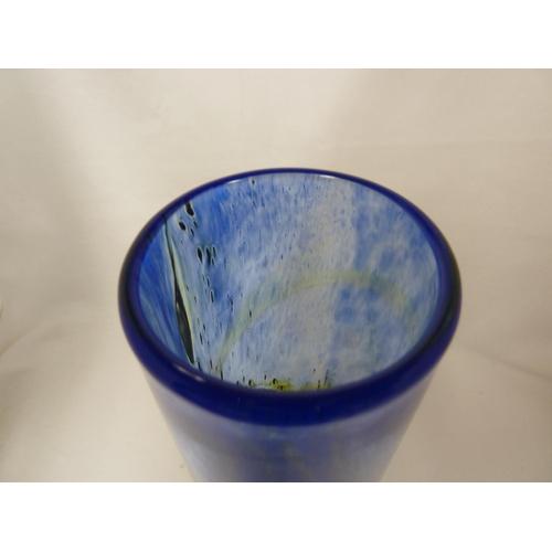 13 - Isle of Wight Glass - a blue Aurene cylindrical vase, impressed flame mark to pontil, 19.5cm high...