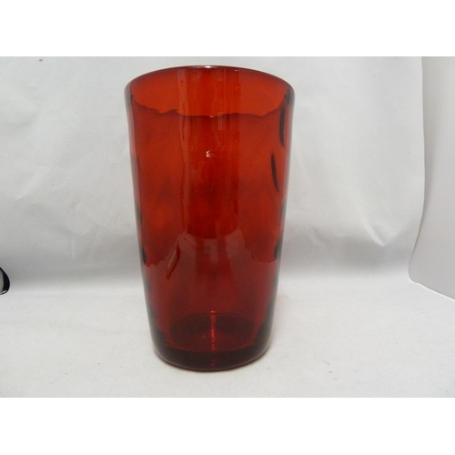 29 - Marriott Powell for Whitefriars - An 8473 wave ribbed tumbler vase, ruby colour, 20cm high...