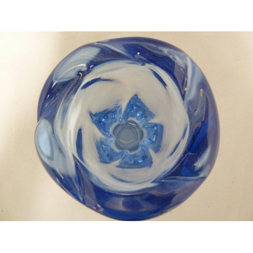 30 - William Wilson for Whitefriars - a 9386 twisty lobed glass vase, Sapphire Blue colour, 19.5cm high a...
