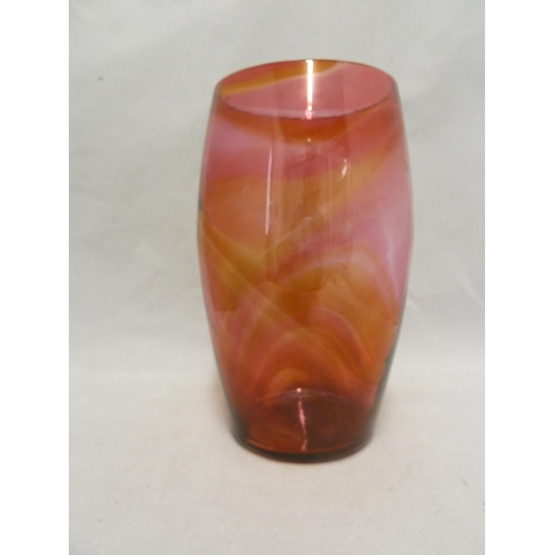 31 - Whitefriars - a 8608 glass vase, unusually in amber and ruby streaky glass, Circa 1930, 22.7cm appro...