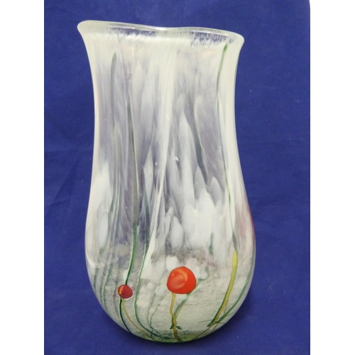 41 - Siddy Langley - a Celedon Spring glass vase, of folded bulbous form with stems and yellow and red fl...