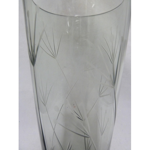 32 - Geoffrey Baxter for Whitefriars- a sea green cylindrical glass vase cut with Cow Parsley design, No ...