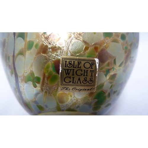 15 - Isle of Wight Glass - a Summer Fruits vase, probably Gooseberry, of squat ovoid form with short trum...