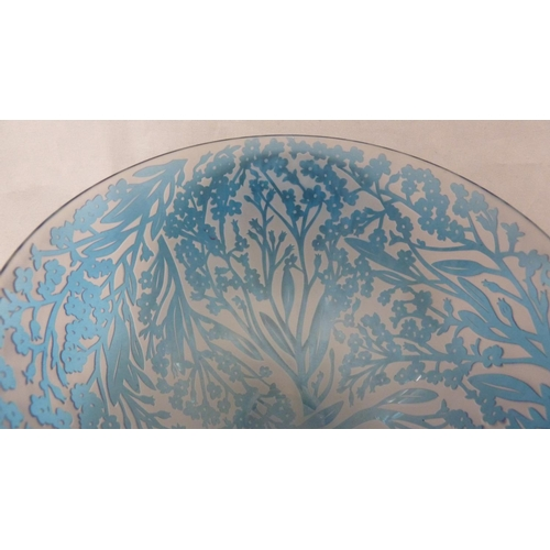 40 - Louise Hawkins for Loco Glass - Forget Me Not, a sand carved reverse cameo bowl, in forget me not bl...