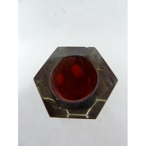 59 - Mandruzzato - a hexagonal faceted Sommerso glass vase, red/yellow/colourless, circa 1960's, Murano, ...
