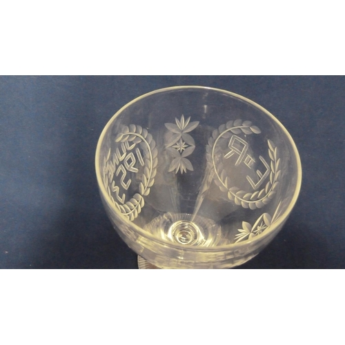 39 - English Glass - a commemorative rummer for the Coronation of Queen Elizabeth II in 1953, engraved wi...