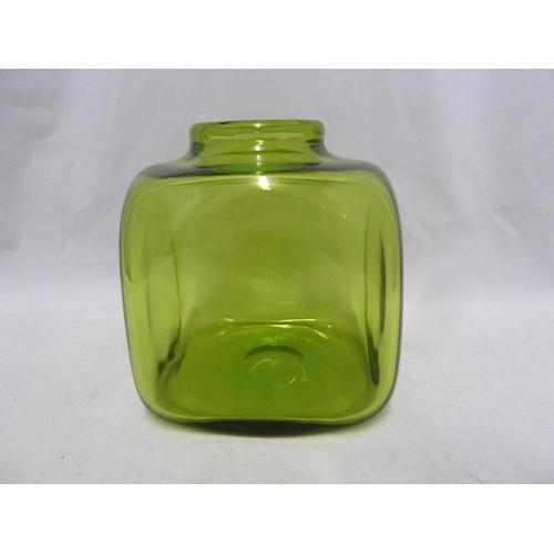 50 - Per Lutkin for Holmegaard - a Majgrøn / May Green glass cuboid vase, engraved Holmgaard and R 18157,...