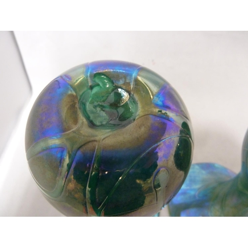 16 - Isle of Wight, possibly Alum Bay - a  pair of convolvulus bud form glass vases of nacreous green blu...