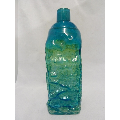 18 - Mdina glass - a Bark vase, of large size, of square section bottle form, blue/green coloration, c.19...