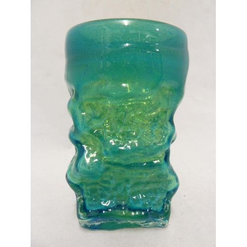 19 - Mdina glass - a Bark vase, of small size, of square section base and circular top, blue/green colour...