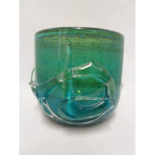 20 - Mdina glass - a Chinese bowl, of sand, green and blue colour applied with 3 colourless glass 'charac...
