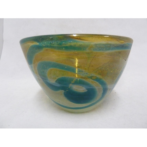 21 - Mdina glass - a Rosenthal bowl, of blue swirls on a sand  graduating to white coloured ground, hand ...