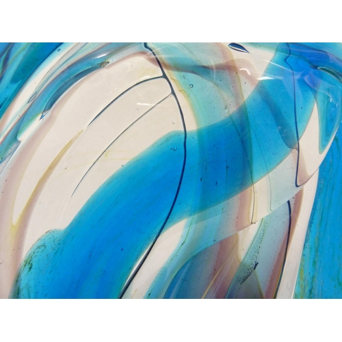 23 - Mdina glass - a knot sculpture, in predominantly blue colour, marked to base Mdina Glass, dated 1975...