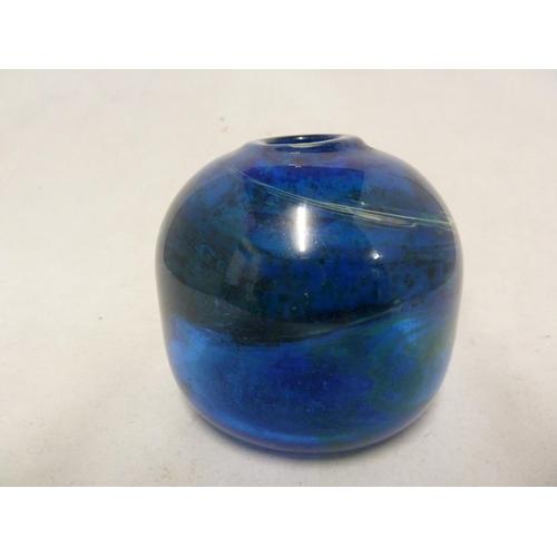 3 - Isle of Wight Glass - a Seaward colour vase, of globular form with slightly protruding rim, deep blu...