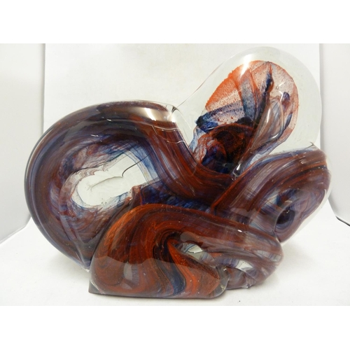 4 - Isle of Wight Glass - a Knot sculpture, red and blue colouration, of squat form, 23.5cm high x 29.5c...