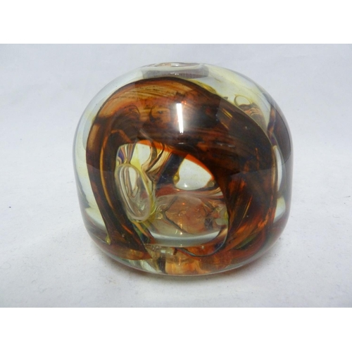 5 - Isle of Wight Glass - an early treacle / tortoiseshell inside out vase, swirled in rich brown, orang...