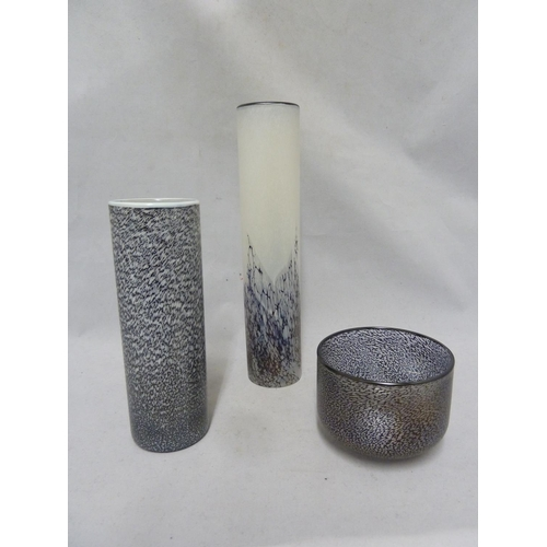 6 - Isle of Wight Glass - three items from the Bon-Bon range, comprising a Liquorice cylinder vase; a Hu...