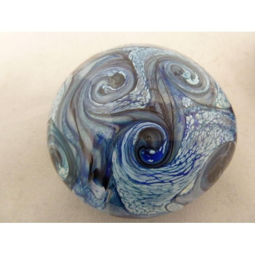 7 - Isle of Wight glass - two Gemstone pebble paperweights, in amethyst and aqua marine colours, partial...