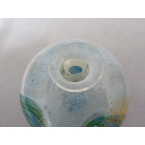 9 - Isle of Wight Glass - A candlestick; a miniature globe vase with original label; and a cylinder vase...