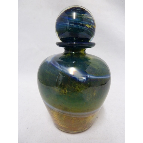 10 - Isle of Wight - a Blue Aurene bottle and stopper, the squat ovoid form body surmounted by a ball sto...
