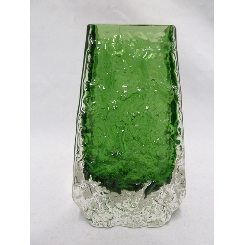 37 - Whitefriars - a Meadow Green glass Coffin form vase, 13cm high...