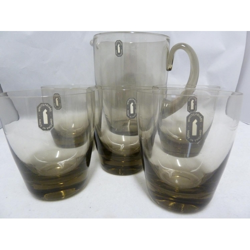 28 - Whitefriars - an M20 Jug and five glasses, twilight colour, original paper labels, 16.8 and 9.7 cm h...