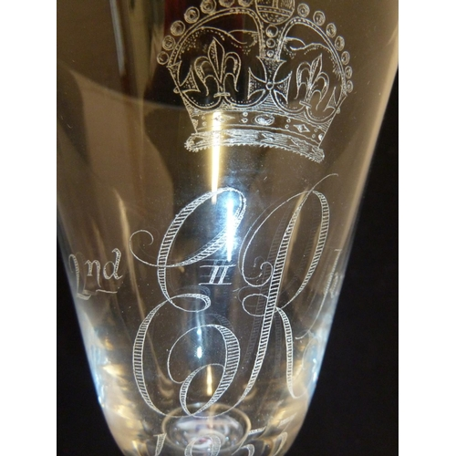 36 - William Wilson for Whitefriars - a commemorative 9071 shape colourless glass goblet, diamond engrave...