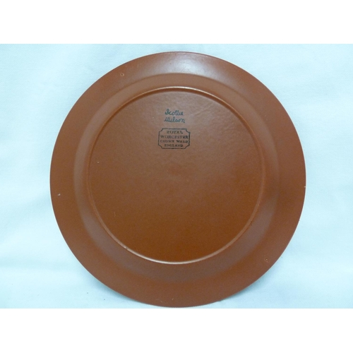 80 - Scottie Wilson for Royal Worcester – a Crown Ware display plate, the red stoneware body printed in b...