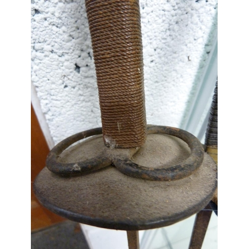 110 - Two Antique fencing foils or epees, with bound handles and steel or brass pommels, 108cm max (2)