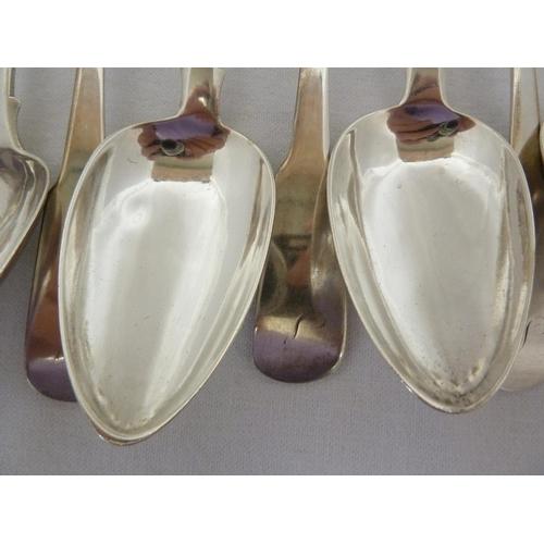 1 - Scottish Interest - A set of twelve silver table spoons, variant fiddle pattern, c1840, Robert Keay ...