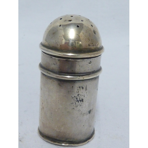 30 - A miniature silver kitchen pepperette of cylindrical shape with strap handle and pierced domed cover...